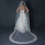 Cathedral Length Wedding Veil with Scalloped Silver Lace Embroidery