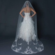 Cathedral Length Wedding Veil with Lace Embroidery Appliques