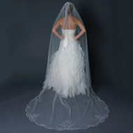 Beaded Cathedral Length Wedding Veil with Rhinestones