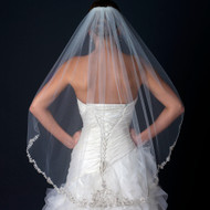 Gorgeous Beaded Floral Embroidery Fingertip Length Wedding Veil