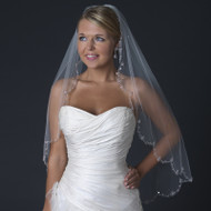 Scalloped  Beaded Fingertip Length Wedding Veil