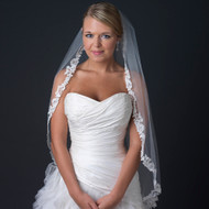 Lace Edge Fingertip Length Wedding Veil with Rhinestone Accents