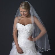 Ivory Fingertip Length Wedding Veil with Beaded Edge