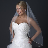 Ivory Fingertip Length Wedding Veil with Beaded Pearl Edge