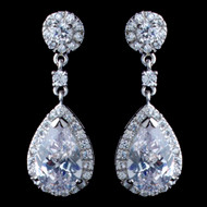 Teardrop CZ Drop Wedding Earrings