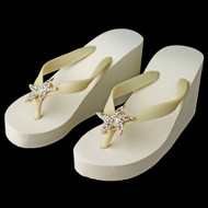 Gold Starfish Rhinestone High Wedge Bridal Flip Flops -White or Ivory