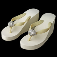 High Wedge Bridal Flip Flops with Rhinestone Flower Accents