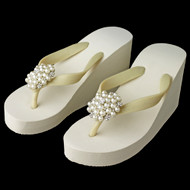 High Wedge Bridal Flip Flops with Rhinestone and Pearl Accents