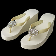 High Wedge Bridal Flip Flops with Rhinestone Flower Detail