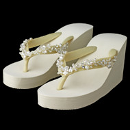High Wedge Bridal Flip Flops with Crystal, Freshwater Pearl Accents
