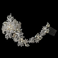 Glamorous Freshwater Pearl and Rhinestone Floral Wedding Comb