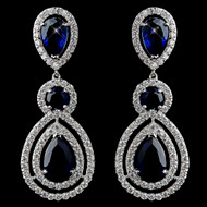 Sapphire Blue CZ Dangle Wedding Earrings