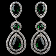 Emerald Green CZ Dangle Wedding Earrings