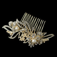 Light Gold Plated Pearl and Rhinestone Floral Wedding Comb