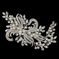 Silver Plated Pearl and Rhinestone Wedding Hair Clip