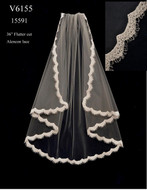 Lace Edge Flutter Cut Fingertip Length Wedding Veil V6155
