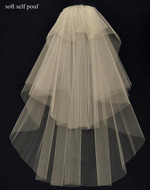 Custom Made Fingertip Length Wedding Veil with Soft Pouf