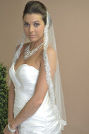 Fingertip Length Wedding Veil Ansonia 620 with Sequin Edge