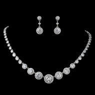 Round Pave CZ Wedding Jewelry Set - Silver, Gold or Rose Gold