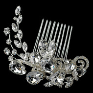 Multi Cut Rhinestone Swirl Vine Wedding Comb