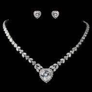 Heart Theme CZ Wedding Jewelry Set