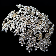 Dramatic Light Gold Crystal Great Gatsby Style Wedding Headband