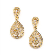 Mariell Vintage Look Gold Etched CZ Wedding Earrings 3649E-G