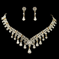 Gold Plated Teardrop Rhinestone Wedding Jewelry Set