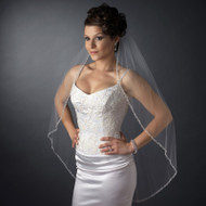 Beaded Edge Fingertip Length Wedding Veil V900f