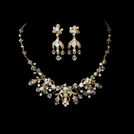 Gold Plated Floral Crystal Wedding Jewelry Set ne6317