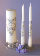 Blue Queen Anne Heart  Personalized Unity Candle Set