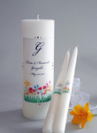 Watercolor Spring Flower Personalized Wedding Unity Candle Set