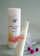 Watercolor Flower Burst Personalized Wedding Unity Candle Set