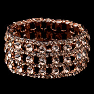 Rose Gold Rhinestone Stretch Bracelet for Prom and Weddings