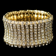 Dazzling Gold Plated Rhinestone Stretch Bracelet