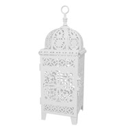 12 Small White Scrollwork Candle Lanterns for Wedding Decorations