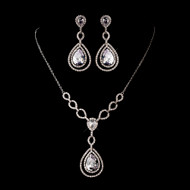 Glamorous Silver Plated CZ Wedding Jewelry Set ne1277