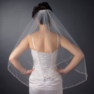 Fingertip Length Wedding Veil with Beaded Pearl and Rhinestone Edge