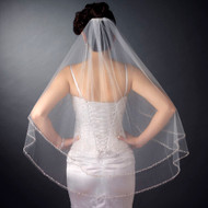 Two Layer Beaded Edge Fingertip Wedding Veil