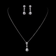 CZ Pendant and Earrings Wedding Jewelry Set