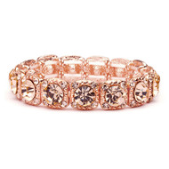 Rose Gold Crystal Bridesmaid or Prom Stretch Bracelet
