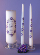 Purple Queen Anne Oval Personalized Wedding Unity Candle Set