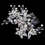 Delightful Diamond White Pearl and Rhinestone Floral Bridal Comb