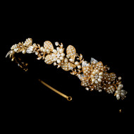 Gold Plated Pearl Side Accent Wedding Headband