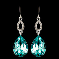 Aqua Crystal Teardrop Prom and Bridesmaid Earrings