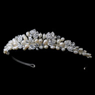 Freshwater Pearl and Rhinestone Leaf Wedding Tiara