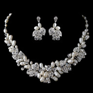 Freshwater Pearl and Rhinestone Floral Wedding Jewelry Set