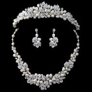Freshwater pearl and Rhinestone Wedding  Tiara and Jewelry Set