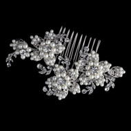 Diamond White Pearl and Rhinestone Floral Hair Comb