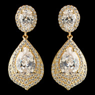 Glamorous Gold Plated CZ Wedding Earrings